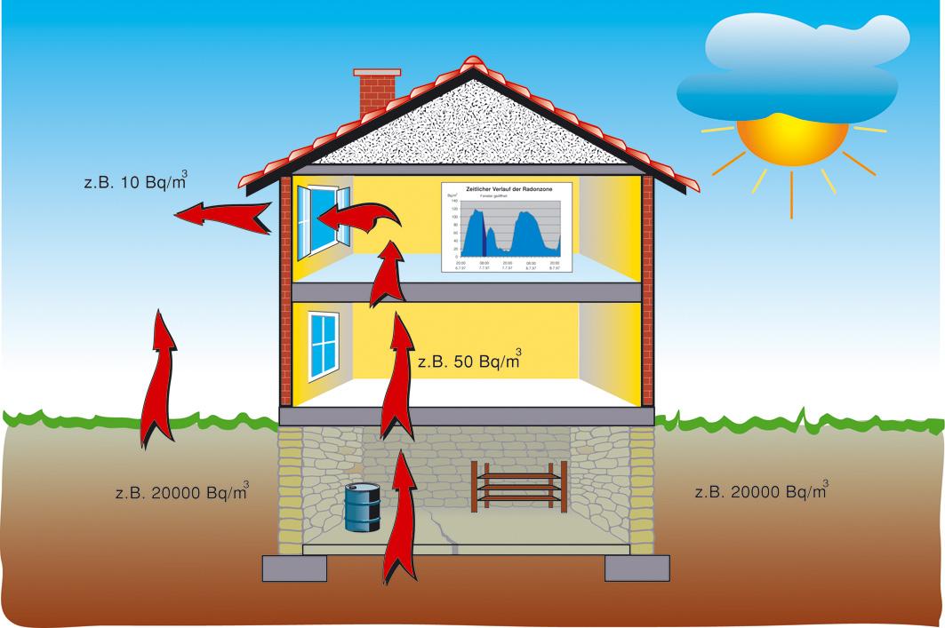 Verteilung und Belastungen durch Radon in Wohnraum und Umwelt
