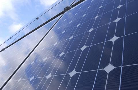 Solarzelle in Nahaufnahme