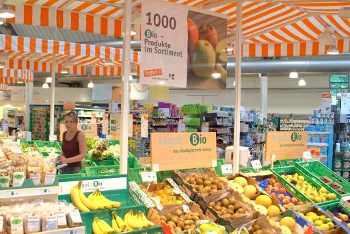 Bioprodukte im Supermarkt